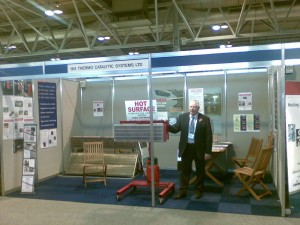 ATEX certified flameless gas catalytic infrared heater at Surface World Exhibition in the Birmingham N.E.C. in 2009