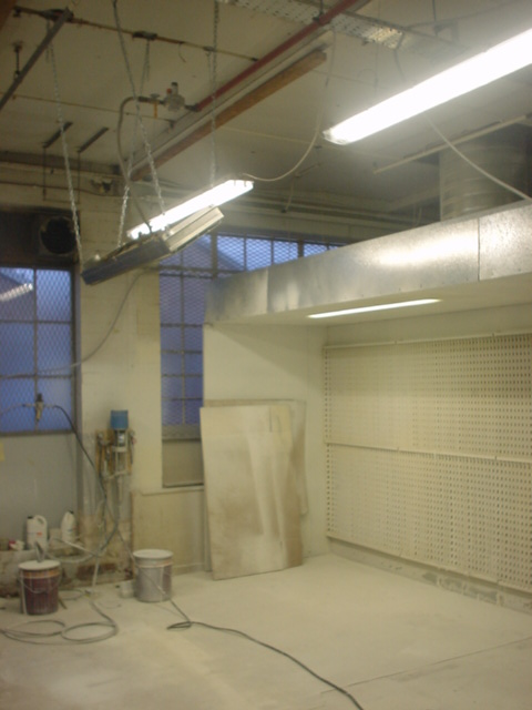 Bruest catalytic  heater suspended in front of a dry back spray (zone 1 hazardous area)
